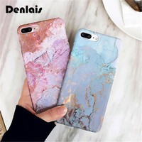 Blue Gold Marble Glossy Fantastic Ocean Granite Stone Coque Matte Hard Slim Phone Case Cover For iPhone 7 7Plus 6 6s 6Plus Cases