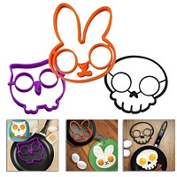 New Cute Creative Fried Eggs Models for Silicone Cartoon Skull Omelette Skull Mold E2shopping