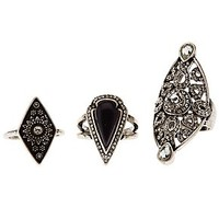 ETCHED & GEMSTONE RINGS - 3 PACK