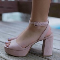 CHINESE LAUNDRY Theresa Micro Suede Rose Heels