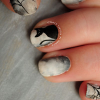 Black Cat Halloween Hand Painted Fake Nails