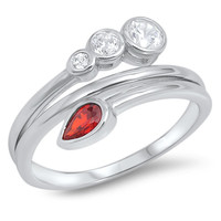 Sterling Silver Unique Pear Shaped Wrap Around Garnet Ring Sz 5-10
