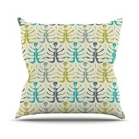 """KESS InHouse Julia Grifol """"My Leaves"""" Teal Green Throw Pillow, 18 by 18-Inch"""