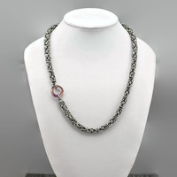 Asymmetrical Tiny Stainless Steel Byzantine Chainmaille Necklace with Swarovski Cosmic Ring - Ready to Ship