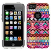 Otterbox Commuter Aztec Andes Bright Pink Purple Pattern Case for iPhone 5