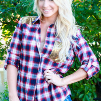 THE ULTIMATE SEQUIN FLANNEL TOP IN NAVY/RED MULTI