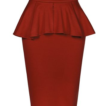 Slim Fit Work Office High Waisted Ruffle Pencil Midi Skirt with Stretch (CLEARANCE)