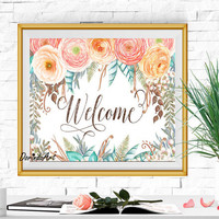 Large Welcome sign Rustic Wedding Welcome printable Blush brown blue Orange Watercolor Ranunculus Entrance Hall Flower wall decor Download