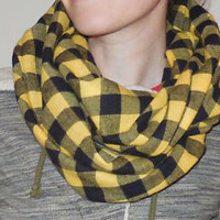 Buffalo Plaid Infinity Scarf Cotton Flannel Women Circle Check Gold Yellow Black