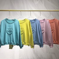 Women Solid Color  Kaws All-match Round Neck Fashion Letter Embroidery Long Sleeve Sweater Tops