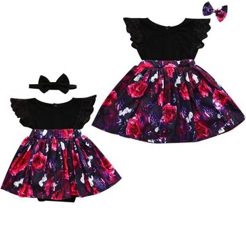 2017 Summer Children Kids Floral Dress Sister Match Family Clothes