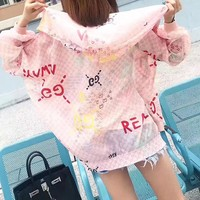 """Gucci"" Women Fashion Multicolor Letter Logo Print Cardigan Zip Long Sleeve Loose Hooded Sunscreen Clothes Coat"