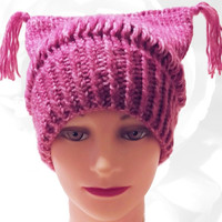PussyHat, Pink PussyHat, Pink Hat, Cat Ear Hat, Pussy Hat Project, Pussy Cat Hat, Pink and White Hat, Winter Hat, Warm Hat, Women's March