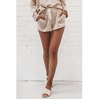 This Isn't Over Taupe Knit Sweater Shorts