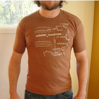 25% Sale 70's Retro Brown Cruise Graphic Tee. Cunard Countess Ship T-shirt. Map. Unisex. Medium M