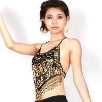 Tribal Belly Dance Costume Choli Top Bra Beads Bells Whole10 color UBY
