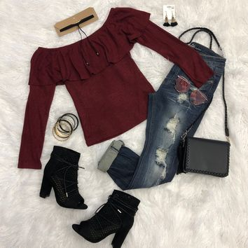 Modern Vintage Burgundy Off the Shoulder Sweater