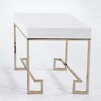 Coco Contemporary End Table White Lacquer/Gold