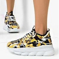 Versace men and women fashion trend platform low-top casual sneakers Court printing black gold