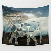 Polyscape Elephant Geometric Africa Tapestry Wall Hanging