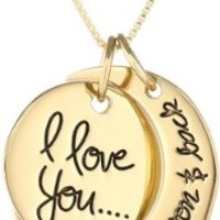 """Sterling Silver Yellow-Gold Flashed """"I Love You To The Moon and Back"""" Two Piece Pendant Necklace, 18"""""""