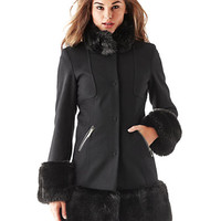 Guess Faux Fur Trim Coat