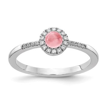 14k White Gold Diamond Halo And Round Pink Tourmaline Cabochon Ring