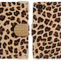 Leopard Print Faux Leather Stand Protective Case with Magnetic Closure for iPhone 4/4S (Light Brown)