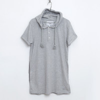 Basic Elongated Hooded Henley Kurta in Heather Gray: WMNS