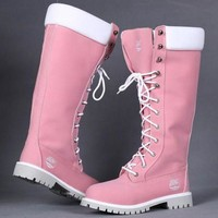 Timberland Rhubarb boots for Women Fashion Lace-Up Waterproof Leather Boots Shoes Pink G