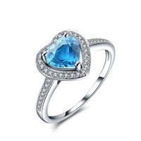 Magic Pieces Sterling Silver Ring with Heart Shape Natural Blue Topaz and CZ