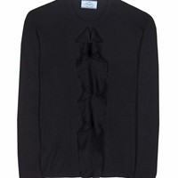 Ruffled cashmere and silk sweater