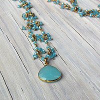 Chalcedony Bezel Drop, Cluster Necklace, Gold Filled Necklace, Gifts for Her, Gifts under 100, Gifts for Mom