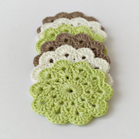 Soft cotton crochet coasters, set of 6 flower coasters in natural colors, brown apple green eco friendly drink coasters, wedding gift