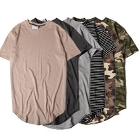 HZIJUE2017 Men's T-shirt summer Solid Color Curved Hem Long Line Camouflage Hip Hop Tshirt Elong Plain Kanye Tee Shirts Men Top