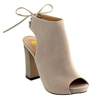Chase & Chloe Marcy-1 Women's Back Lace Up Cut Out High Block Heel Ankle Booties,Nude,5.5
