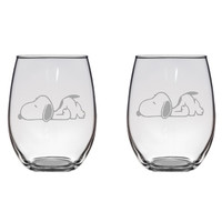 Tired Snoopy Engraved Glasses Peanuts Charlie Brown Gift