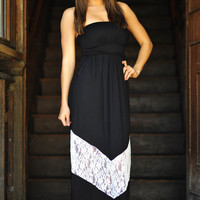 Chevron Forever Maxi Dress: Black/White | Hope's
