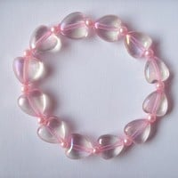 Fairy Sugar II - Pastel Pink Iridescent Hearts Stretch Bracelet with Pink Glass Pearls from On Secret Wings