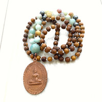 Buddhist Pendant Mala beads, 108 Bead Mala, Thai Buddhist Medallion Pendant, Yoga Jewelry, Meditation Beads, Wood Mala Beads