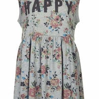Happy Floral Print Smock Dress - Grey Marl