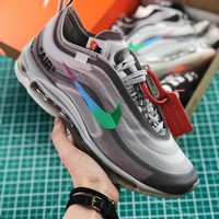 Off White X Nike Air Max 97 Grey Sport Running Shoes - Best Online Sale