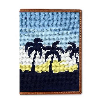 Oasis Needlepoint Passport Case by Smathers & Branson