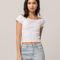SKY AND SPARROW Ribbed Off The Shoulder White Womens Crop Tee