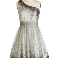 Mid-length One Shoulder A-line Starlight Hearted Dress in Mint