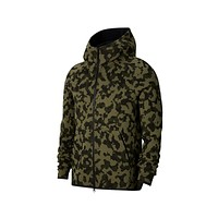 Nike Men's Sportswear Tech Fleece Full Zip Hoodie Printed Camo Medium Olive
