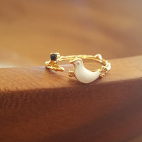 Delicate small dainty Birds on branch ring Gold plated tiny jewelry adjustable rings