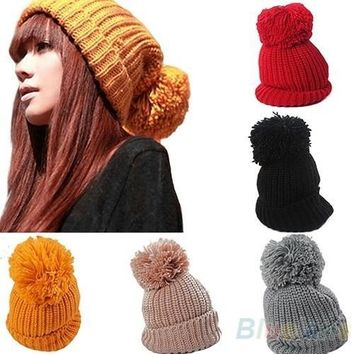 Women's Winter Slouch Knitting Cap Warm Oversized Cuffed Beanie Crochet Ski Bobble Hat, cute, head warmer [7897336391]