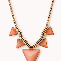 FOREVER 21 Modernist Geo Necklace Coral/Gold One