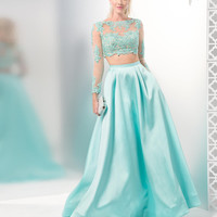 COLORS 1493 Aqua Mikado Lace Long Sleeve Two Piece Prom Dress